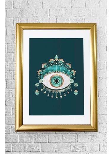 Lyn Home & Decor Yeşil Göz Çerçeveli Poster Tablo 23.5X33,5 Altın